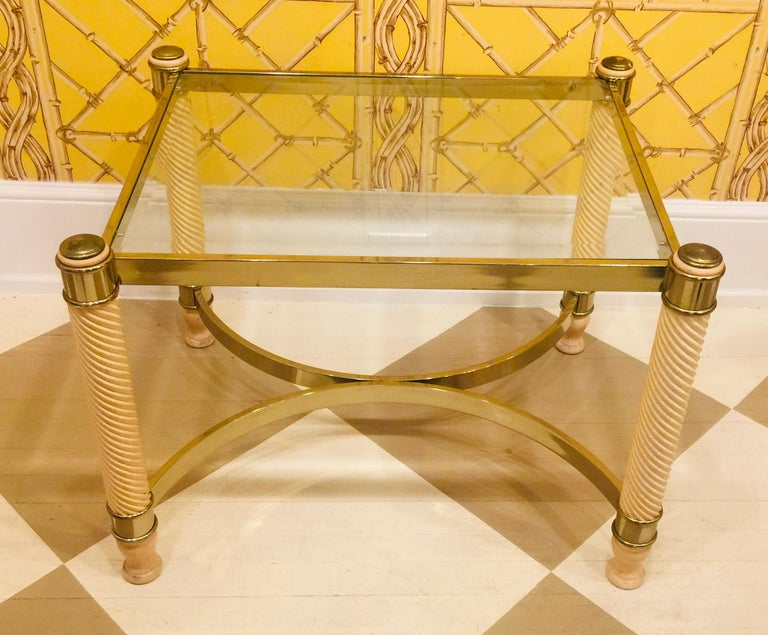 North American Pair of 20th Century English Gilt Metal Carved Wood Glass Top Tables For Sale