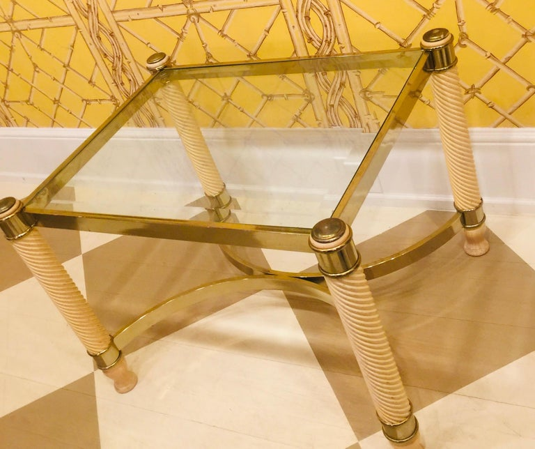 Pair of 20th Century English Gilt Metal Carved Wood Glass Top Tables In Good Condition For Sale In Southampton, NY