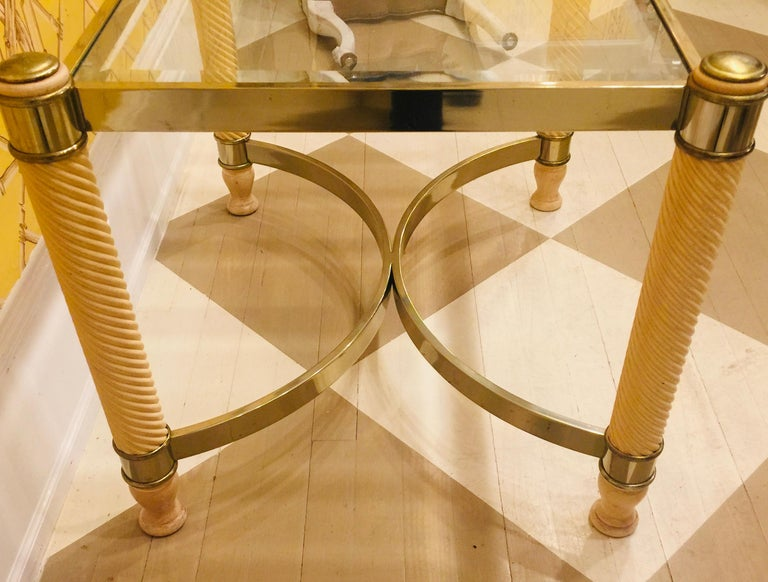 Pair of 20th Century English Gilt Metal Carved Wood Glass Top Tables For Sale 2