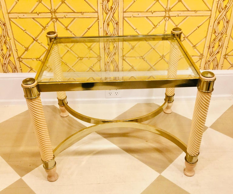 Pair of 20th Century English Gilt Metal Carved Wood Glass Top Tables For Sale 3