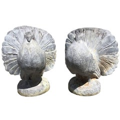 Pair of 20th Century English Lead Pigeons