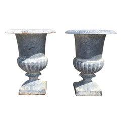 Pair of 20th Century English Lead Urn Pots