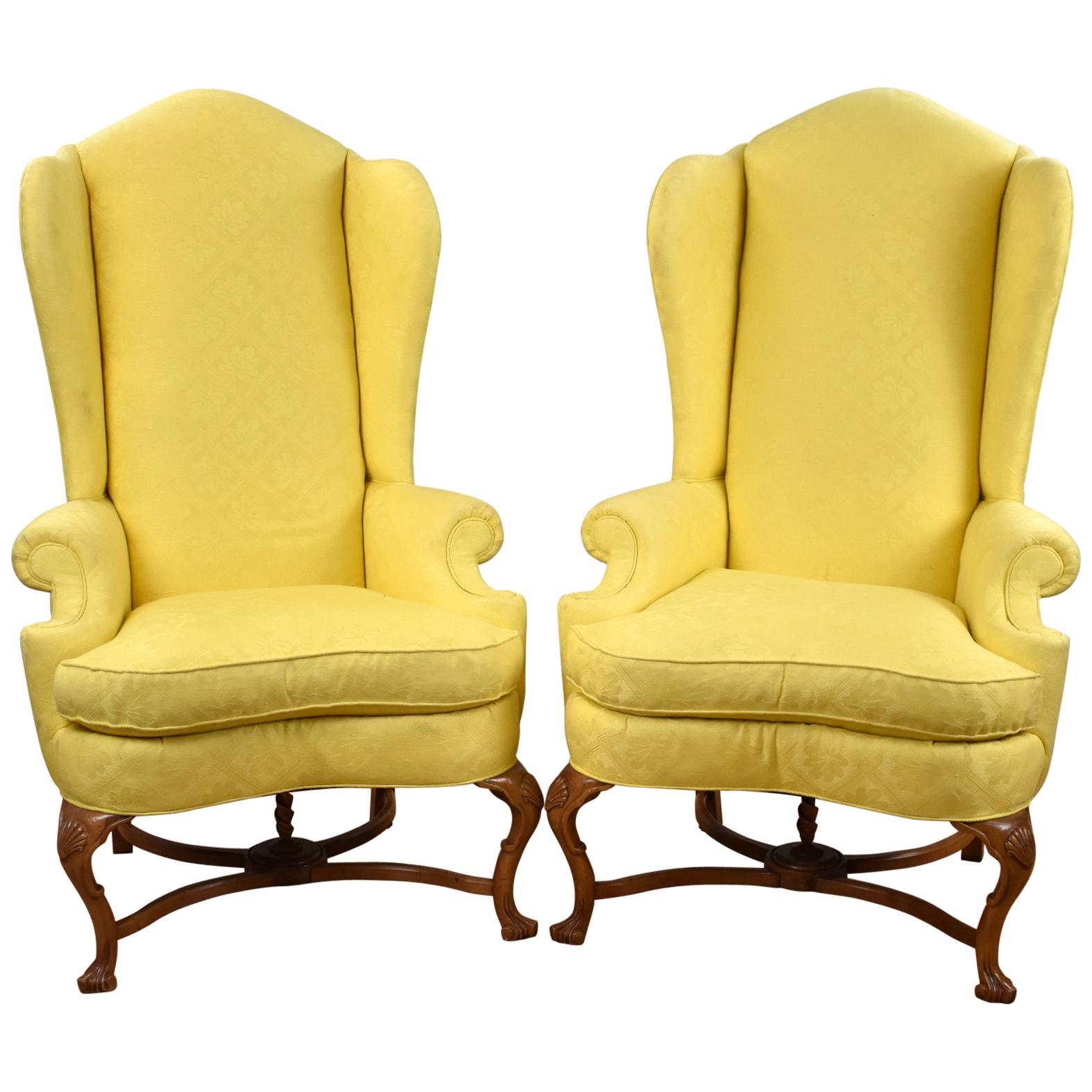 Pair of 20th Century English Queen Anne Style Wing Back Armchairs