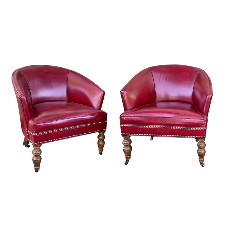 Century Furniture For Sale: Pair Of 20th Century English Red Leather Barrel Chairs For