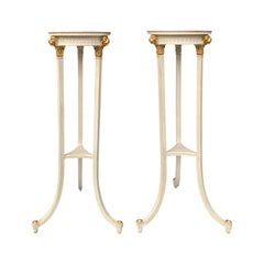 Pair of 20th Century English Regency Style Custom Painted Torcheres / Pedestals