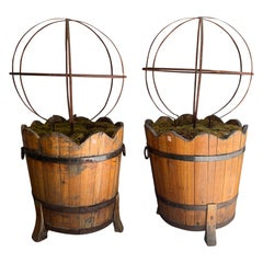 Pair of 20th Century English Regency Style Wooden Tubs with Iron Spheres