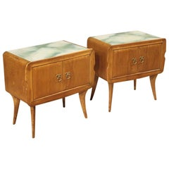 Pair of 20th Century Exotic Wood with Glass Top Italian Design Nightstands