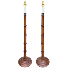 Pair of 20th Century Faux Bamboo Floor Lamps