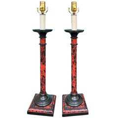Pair of 20th Century Faux Tortoise Shell Candlestick Lamps