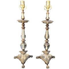 Pair of 20th Century French and Crystal and Bronze Table Lamps