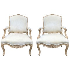 Pair of 20th Century French Bleached Wood Fauteuils