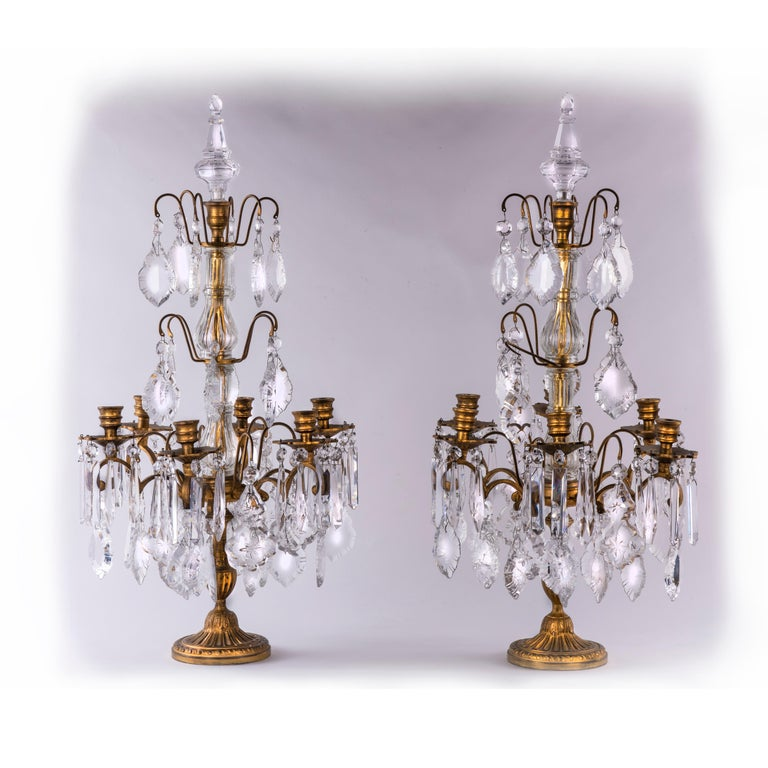 Pair Of 20th Century French Girandoles Crystal Gilt Bronze