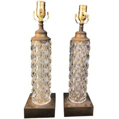 Pair of 20th Century French Cut & Faceted Crystal Table Lamps, Bronze Bases