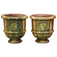 Pair of 20th Century French Glazed Terracotta Green Planters from Provence