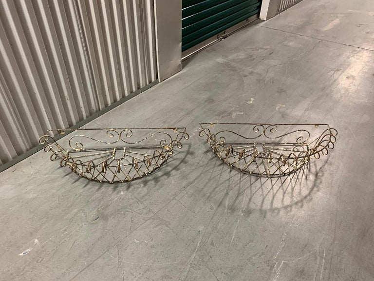 Pair of 20th Century French Iron Wire Planters For Sale 12