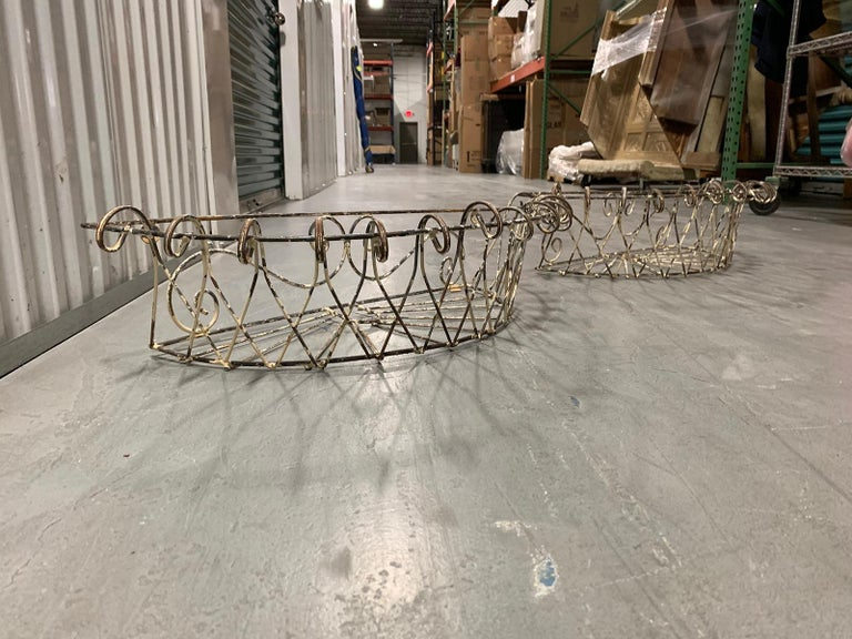 Pair of 20th Century French Iron Wire Planters For Sale 13
