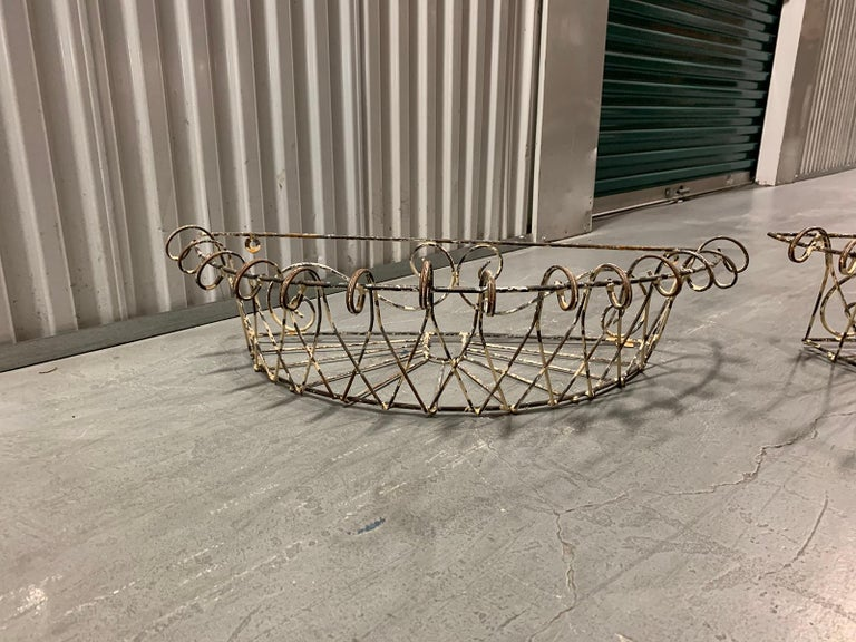 Pair of 20th Century French Iron Wire Planters For Sale 1