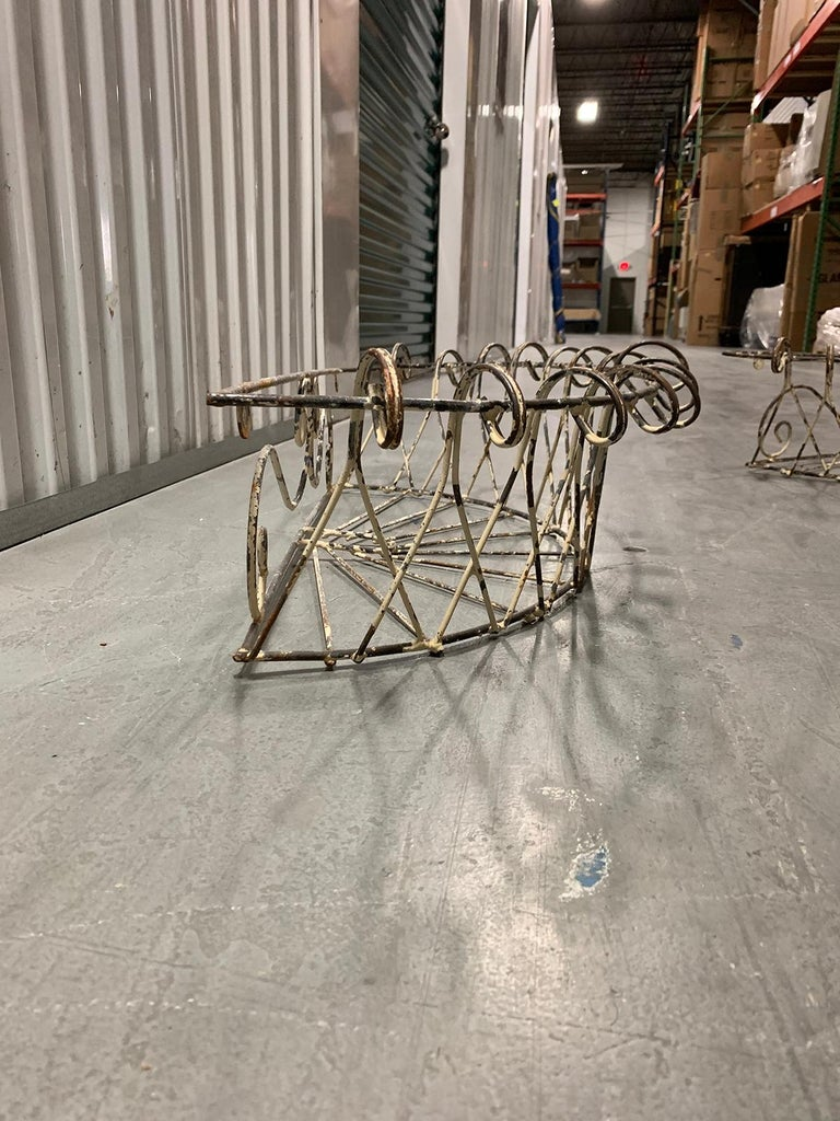 Pair of 20th Century French Iron Wire Planters For Sale 4
