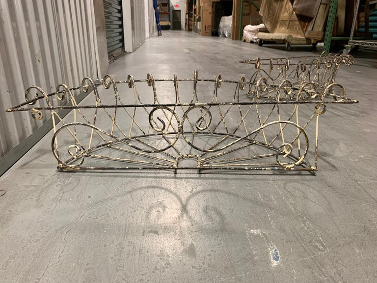 Pair of 20th Century French Iron Wire Planters For Sale 5