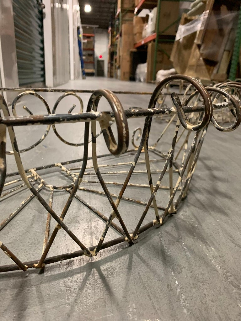 Pair of 20th Century French Iron Wire Planters For Sale 6