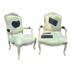 Pair of 20th Century French Louis XV Style Carved Painted Fauteuil Chairs