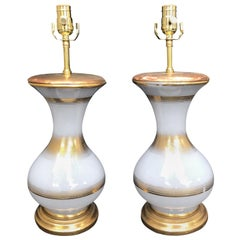 Pair of 20th Century French Opaline Glass Lamps on Custom Bases