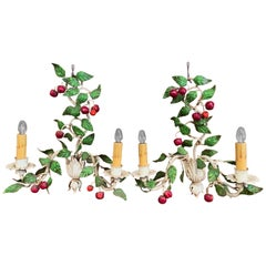 Pair of 20th Century French Painted Metal Sconces with Fruit and Leaf Decor