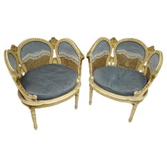 Pair of 20th Century French Petal Chairs with Cane and Blue Velvet Fabric