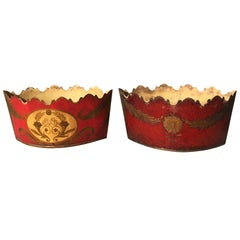 Pair of 20th Century French Red Tole Cachepots, Marked 'Made in France'