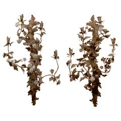 Pair of 20th Century French Tole Sconces with Porcelain Flowers