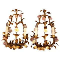 Pair of 20th Century French Two-Light Metal Wall Sconces with Porcelain Flowers