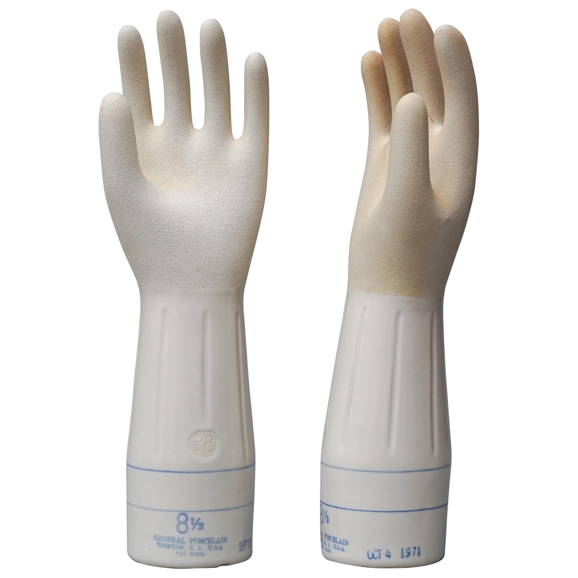 Pair of 20th Century General Porcelain Trenton NJ, USA Industrial Glove Moulds