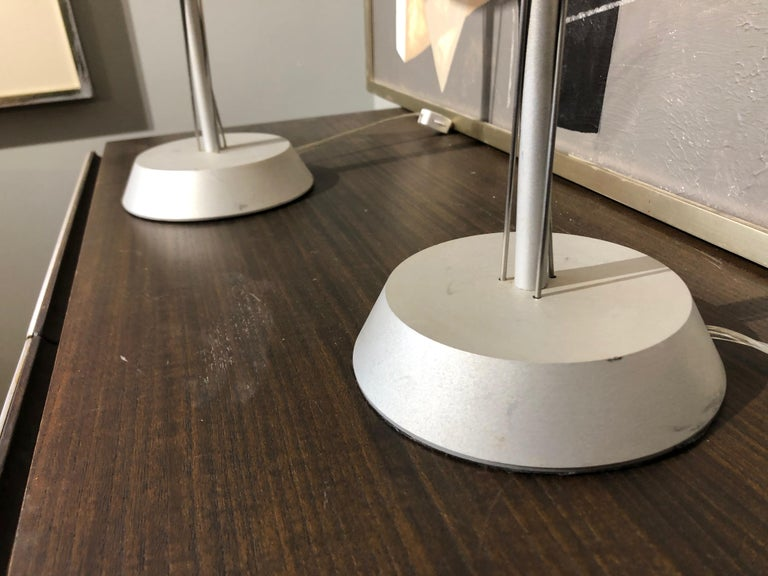 Pair of 20th Century German Postmodern Steel Lamps with Milk Glass Shades In Good Condition For Sale In Middleburg, VA
