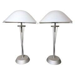 Pair of 20th Century German Postmodern Steel Lamps with Milk Glass Shades
