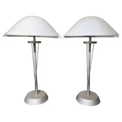 Pair of 20th Century German Postmodern Steel Lamps with Milk Glass Shades