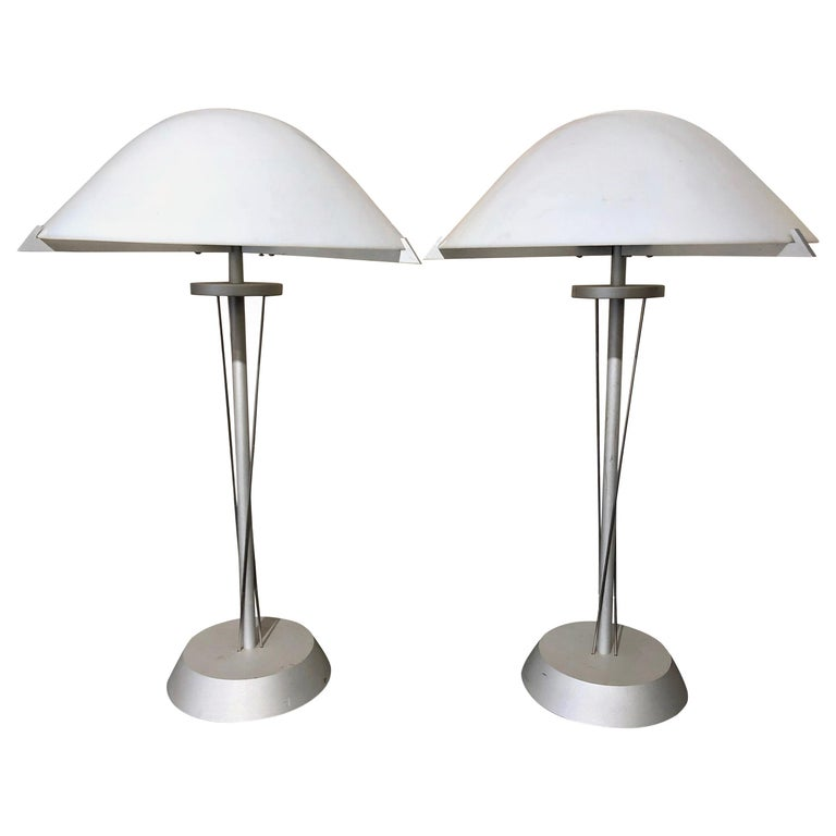 Pair of 20th Century German Postmodern Steel Lamps with Milk Glass Shades For Sale