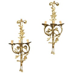 Pair of 20th Century Gild and Chiselled Bronze and Brass Italian Wall Lamps 1950