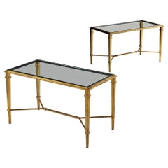 Pair of 20th Century Gilded Bronze Metal Side Tables by Robert Thibier