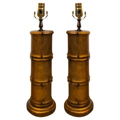 Pair of 20th Century Gilded Faux Bamboo Column Lamps
