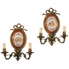Pair of 20th Century Gilt Bronze and Ceramic French Wall Lights, 1920