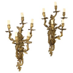 Pair of 20th Century Gilt Bronze French Wall Lights, 1920