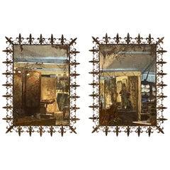 Pair of 20th Century Gilt Metal Fleur-de-Lys Mirrors