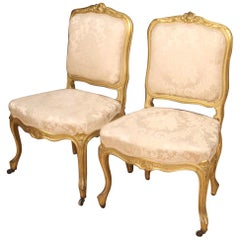Pair of 20th Century Giltwood and Fabric French Louis XV Style Chairs, 1920