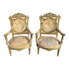 Pair of 20th Century Gilt Wooden Armchairs in Louis XVI Style