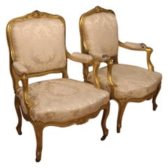 Pair of 20th Century Giltwood French Louis XV Style Armchairs, 1920