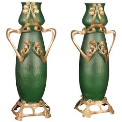 Pair of 20th Century Glass and Metal French Art Nouveau Style Vases, 1950