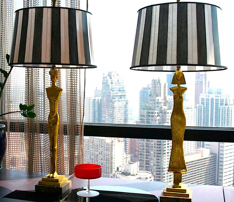 International Style Pair of 20th Century Gold Leaf Bronze Table Lamps in the Style of Giacometti For Sale