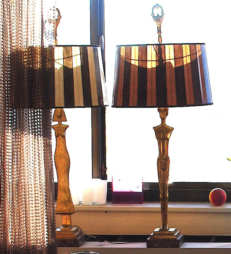 Forged Pair of 20th Century Gold Leaf Bronze Table Lamps in the Style of Giacometti For Sale