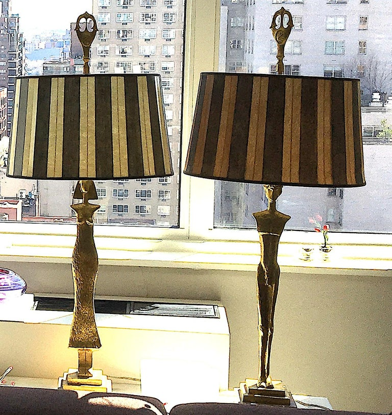Pair of 20th Century Gold Leaf Bronze Table Lamps in the Style of Giacometti In Excellent Condition For Sale In Los Angeles, CA