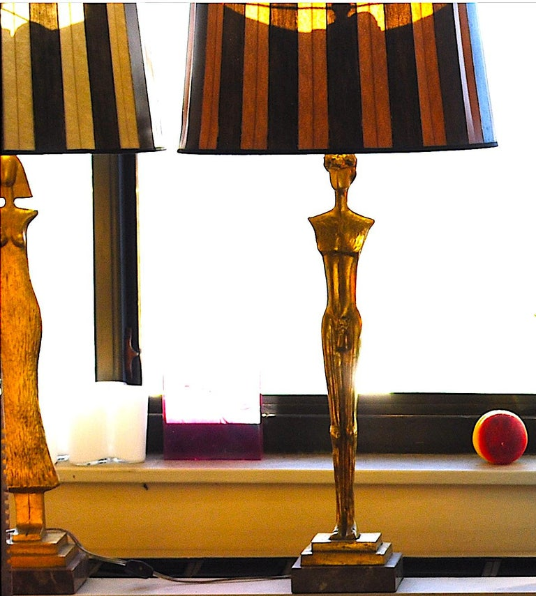 Late 20th Century Pair of 20th Century Gold Leaf Bronze Table Lamps in the Style of Giacometti For Sale